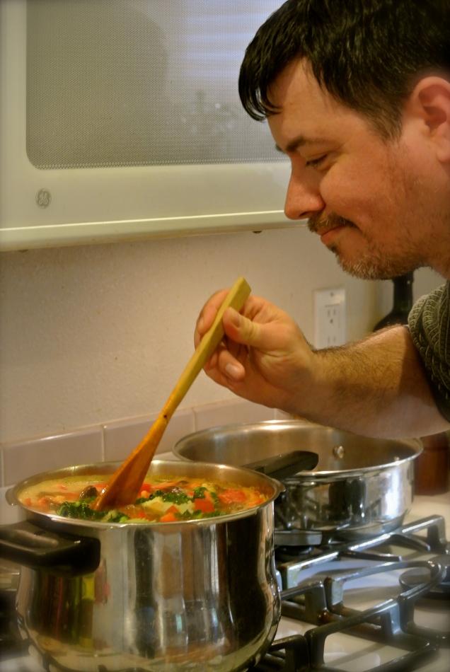 Jon tasting the soup