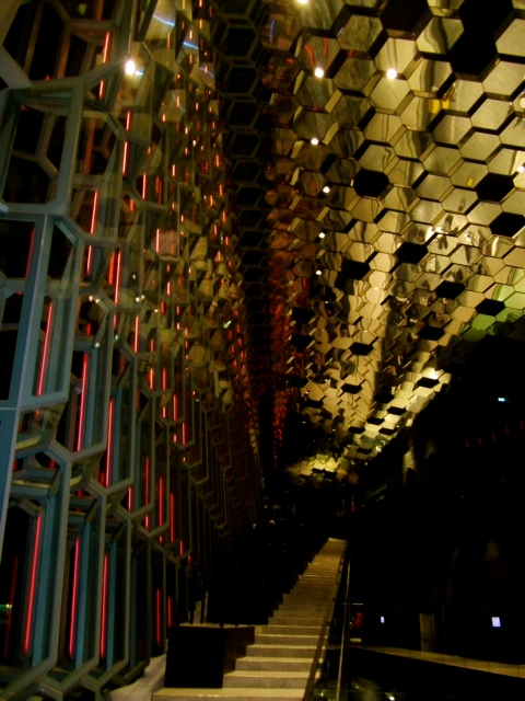 Inside the Harpa at night