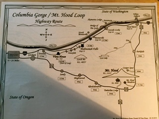 Map of the Columbia Gorge and Mount Hood Loop