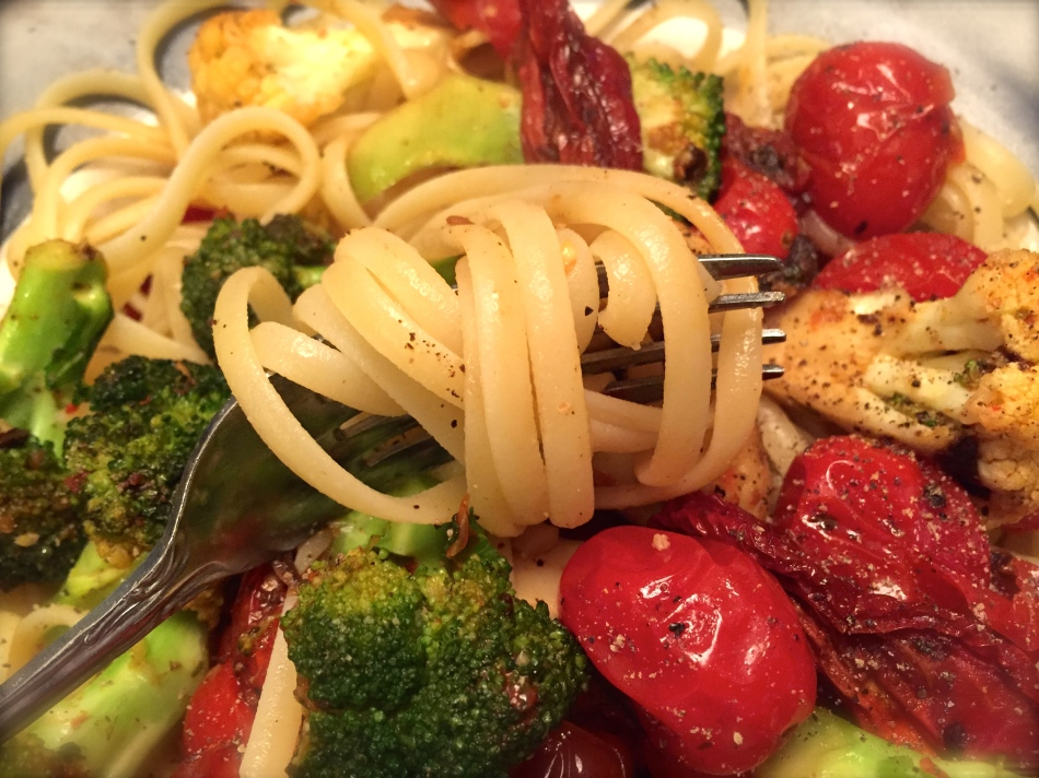 Sizzling Broccoli and Tomatoes with Pasta